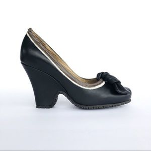 Black Leather Wedges with Removable Bow
